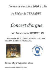 Concert d'orgue à l'Eglise de Terraube le 4 Octobre à 17h