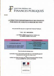 La Direction Départementale des Finances Publiques reprend à nouveau ses permanences tous les mercredi après-midi au CCAS de Lectoure.