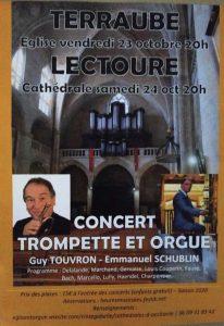 Concert Trompette et Orgue à l'Eglise de Terraube le Vendredi 23 Octobre à 20h