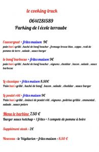 Menu Cooking Truck 28 Octobre 2020